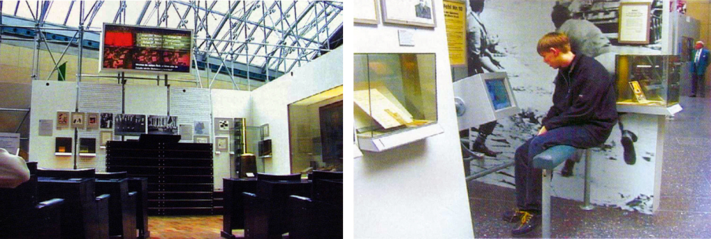 "Left: Inclusion of audio-visual media and their integration in the overall scenography of ""Haus der Geschichte"" (Museum of Contemporary German Political History), Bonn and ""Aquarius Wassermuseum"" (Aquarius Water Museum).  Haus der Geschichte, Bonn: replica and parts of the assembly hall of the Federal Parliament in the city of Bonn, Flatscreens are broadcasting the most important political developments and decisions.Right: Haus der Geschichte: information on current political history via PC"