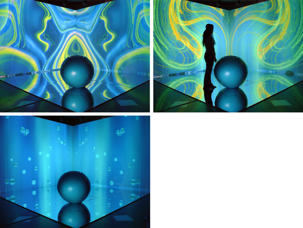 """Fluid Music"", Zhe Li. Interactive playing ground. Different digital stage scenographies. Third row: touch interface - an audio-visual landscape."